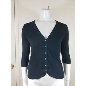 Tommy Bahama Black Low VNeck Button Front Cardigan